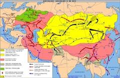 Карта походов Чингизхана