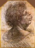 Рисунок Леонардо да Винчи - лицо пожилого человека