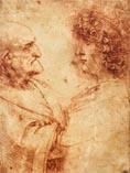 Рисунок Леонардо да Винчи - старик и молодая женщина