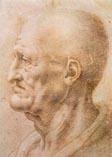 Рисунок Леонардо да Винчи - лицо старика