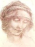 Рисунок Леонардо да Винчи - лицо женщины 03