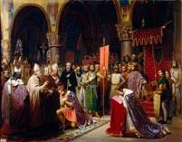 Людовик VII принимает крест в аббатстве Сен-Дени в 1147 году