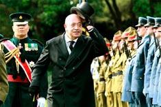 Король Тонга Тупоу V на официальной церемонии встречи