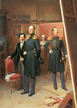 Николай 1 и цесаревич Александр на выставке