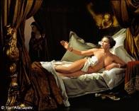 Оригинальная фотореклама воспроизводящая картину Даная Рембрандта