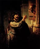 Самсон угрожает тестю, Рембрандт