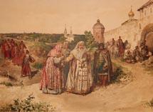 Царевна Софья у Троицы получает письмо от Василия Голицына