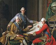 Король Швеции Густав III (слева) и его два брата, принц Фредерик Адольф и принц Чарльз, позже Чарльз XIII король Швеции