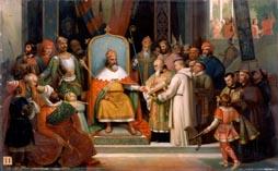 КАРЛ ВЕЛИКИЙ в окружении приближенных получает в дар от Алкуина монастырские манускрипты