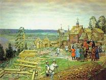 Строительство деревянной крепостной стены города времен Ивана Калиты 01