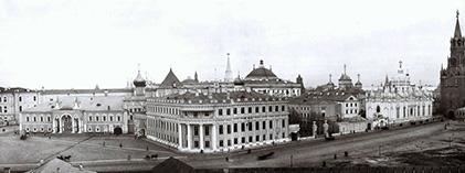 Московский Кремль, панорама: Чудов монастырь, Малый Николаевский дворец и Вознесенский монастырь