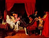 Франциск I у умирающего Леонардо да Винчи