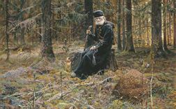 Православный монах в лесу в старину
